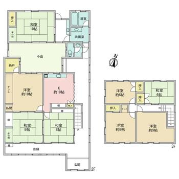 広縁、中庭、南側和室8帖2間つづき